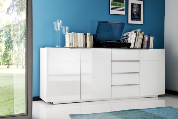 Canberra Sideboard In Glass Top And White High Gloss With 3 Door_4