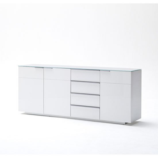 Canberra Sideboard In Glass Top And White High Gloss With 3 Door_2
