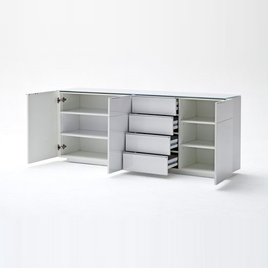 Canberra Sideboard In Glass Top And White High Gloss With 3 Door_3