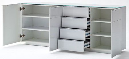 Canberra Sideboard In Glass Top And White High Gloss With 3 Door