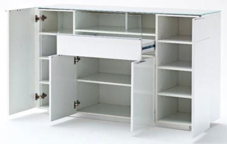 Canberra Highboard In Glass Top And White High Gloss With 4 Door