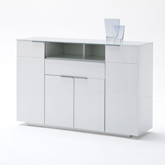 Odessa Sideboard 4 Drawer In High Gloss White With Led Light