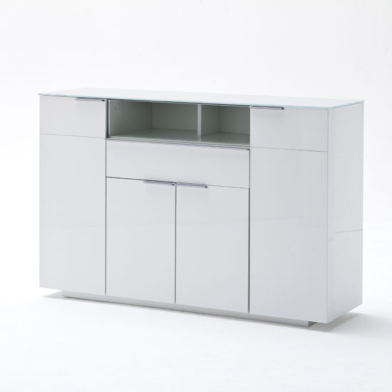 Canberra Highboard In Glass Top And White High Gloss With 4 Door_2