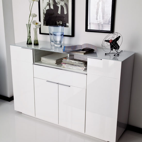 Canberra Highboard In Glass Top And White High Gloss With 4 Door_3
