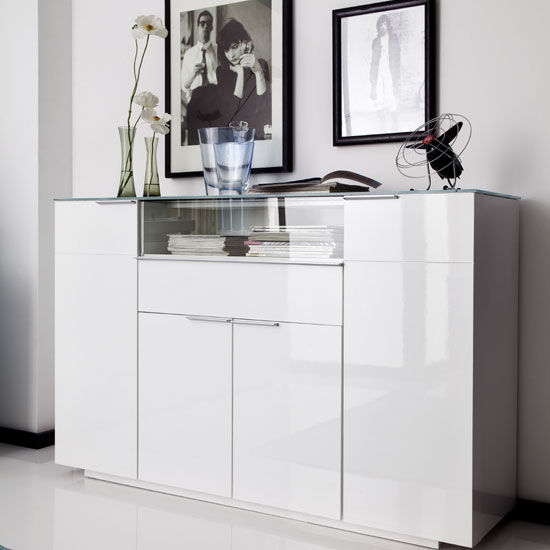 Canberra Highboard In Glass Top And White High Gloss With 4 Door_4