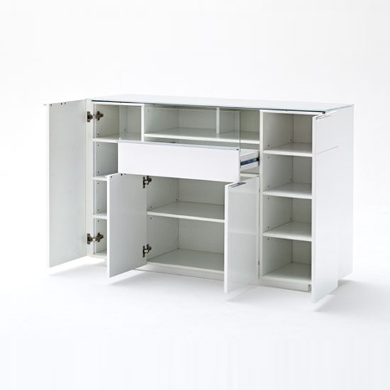 Canberra Highboard In Glass Top And White High Gloss With 4 Door_5
