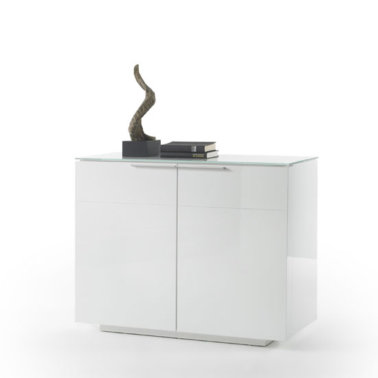 Canberra Compact Sideboard In White Glass Top And High Gloss