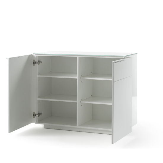 Canberra Compact Sideboard In White Glass Top And High Gloss_3
