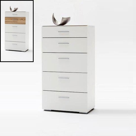 Portland Chest Of Drawers In White High Gloss With 5 Drawers