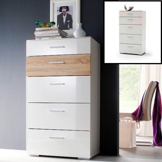 Portland Chest Of Drawers In White Gloss And Oak With 5 Drawers