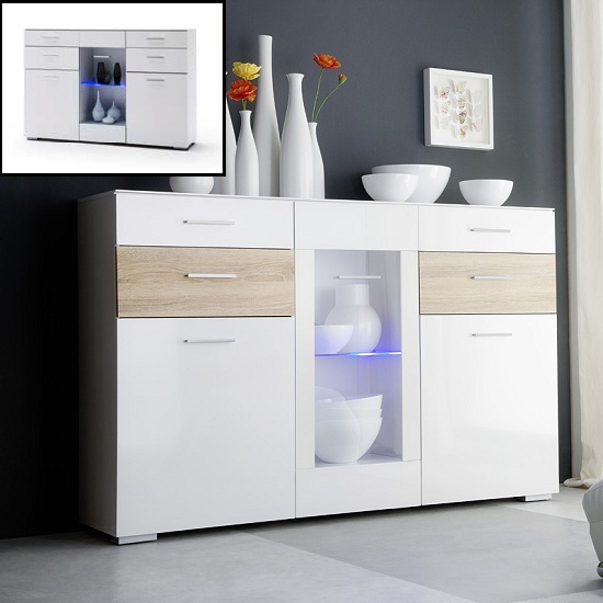 Portland Sideboard In White Gloss And Oak With LED Light