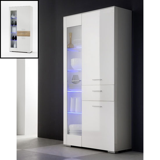 Portland Display Cabinet In White High Gloss With 3 Door And LED