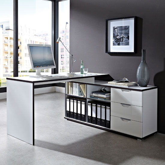 Arctic Home Office Corner Computer Desk In White 25432