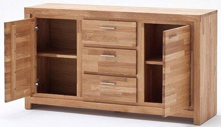 Santos Sideboard In Solid Knotty Oak With 2 Door And 3 Drawers