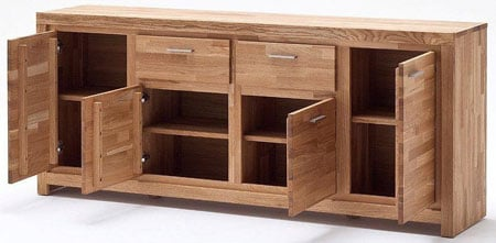 Santos Sideboard In Solid Knotty Oak With 4 Door And 2 Drawers