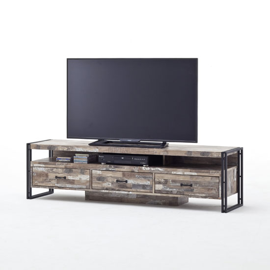 Lydia Vintage Style LCD TV Stand In Wooden Effect With 3 Drawers