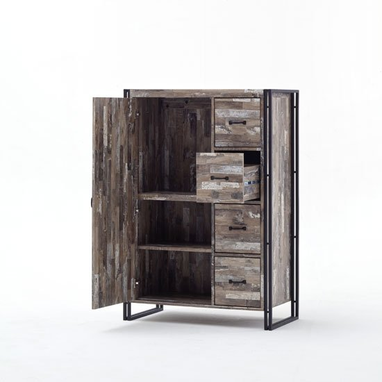 Lydia Vintage Style Highboard In Wooden Effect With 4 Drawers_2