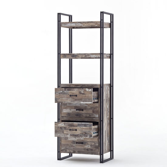 Lydia Vintage Style Bookcase In Wooden Effect With 4 Drawers_2