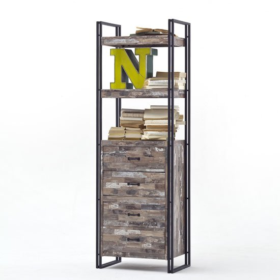 Lydia Vintage Style Bookcase In Wooden Effect With 4 Drawers