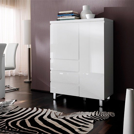 Sydney Sideboard In White High Gloss With 2 Door And 3 Drawers