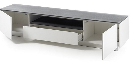 Denzel LCD TV Stand In White Matt With Grey Glass Top And 2 Door