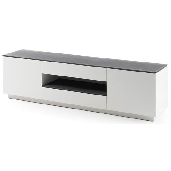 Darwin lcd tv stand in white matt with grey glass top and 2 for Meuble tv gris