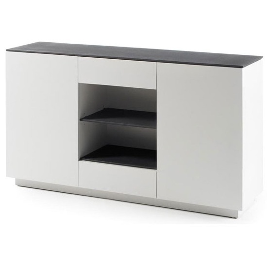 Denzel Sideboard In White Matt And Grey Glass Top With 2 Doors