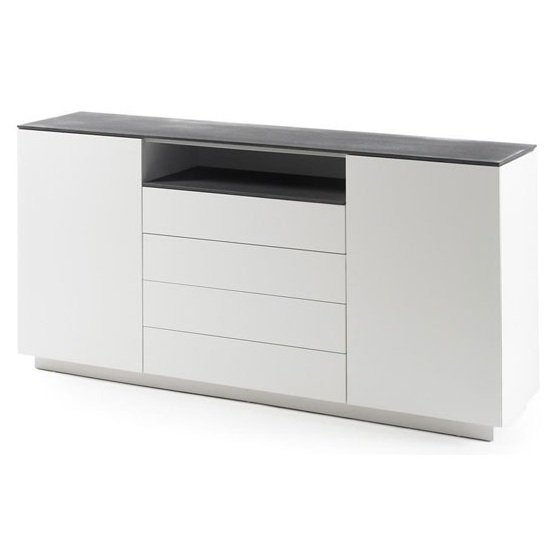 Photo of Denzel sideboard in white matt and grey glass top and 4 drawers