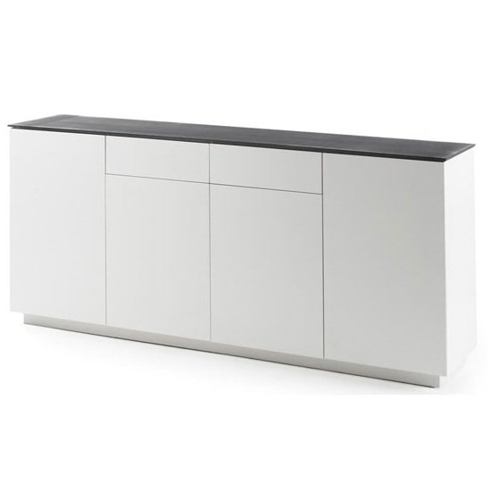 Denzel Sideboard In White Matt And Grey Glass Top With 4 Doors