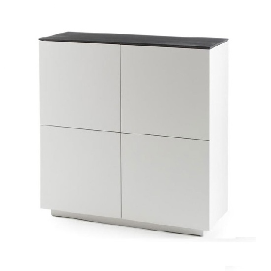 Denzel Highboard In White Matt And Grey Glass Top With 4 Doors