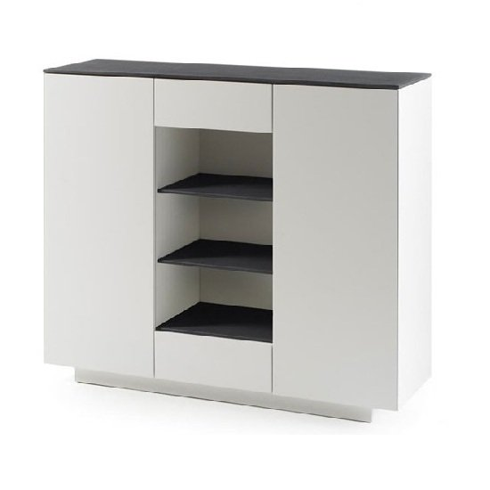 Denzel Highboard In White Matt And Grey Glass Top With 2 Doors