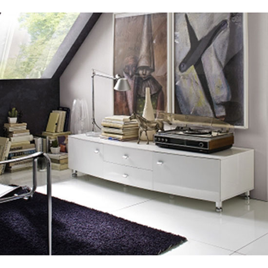 Lucca white high gloss finish lowboard tv sideboard with 2 for Sideboard lowboard