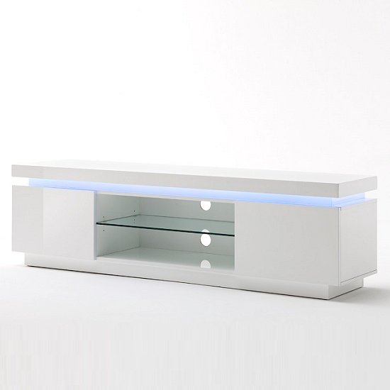 Odessa 2 Door Lowboard Tv Stand in High Gloss White With LED_2