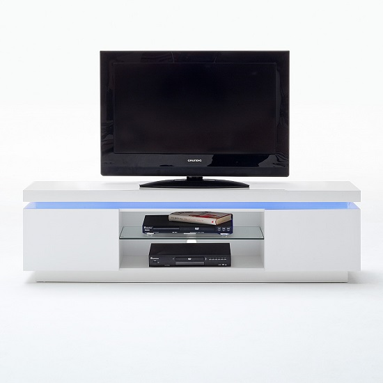 Odessa 2 Door Lowboard Tv Stand in High Gloss White With LED_3