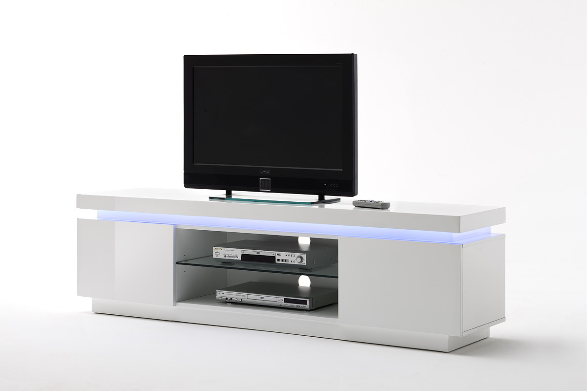 Odessa 2 Door Lowboard Tv Stand In High Gloss White With