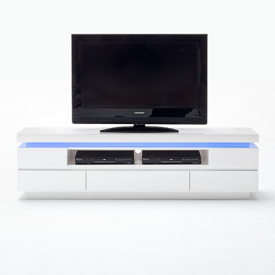 Odessa 5 Drawer Lowboard Tv Stand in High Gloss White With LED_2
