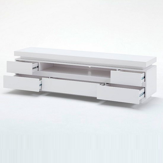 Odessa 5 Drawer Lowboard Tv Stand in High Gloss White With LED_3