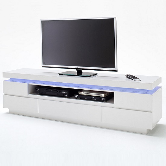 Odessa 5 Drawer Lowboard Tv Stand in High Gloss White With LED_4