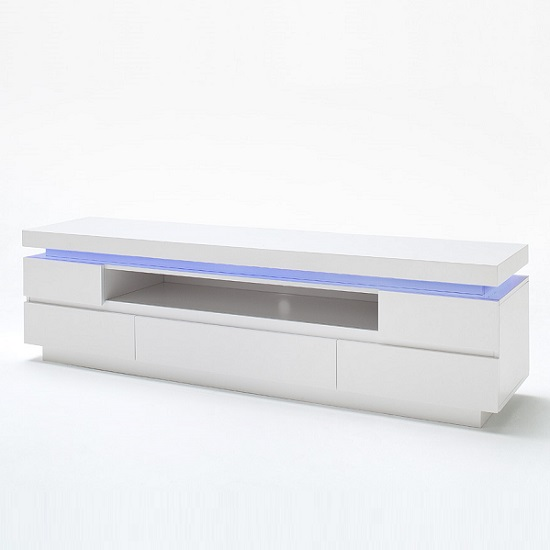 Odessa 5 Drawer Lowboard Tv Stand in High Gloss White With LED_5