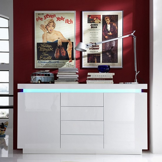 Odessa Sideboard 4 Drawer in High Gloss White With LED Lights_1