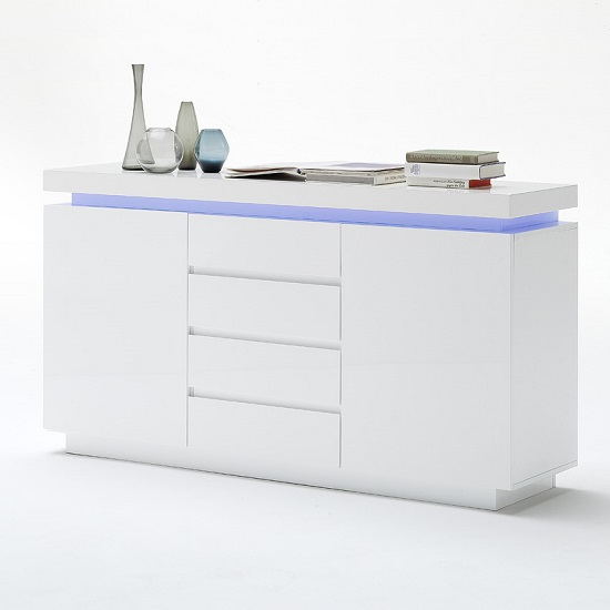 Odessa Sideboard 4 Drawer in High Gloss White With LED Lights_2