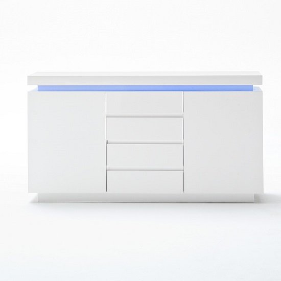 Odessa Sideboard 4 Drawer in High Gloss White With LED Lights_3