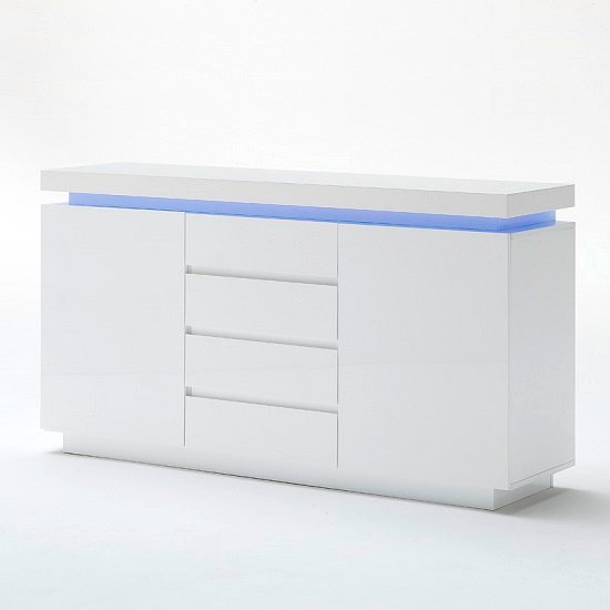Odessa Sideboard 4 Drawer in High Gloss White With LED Lights_4