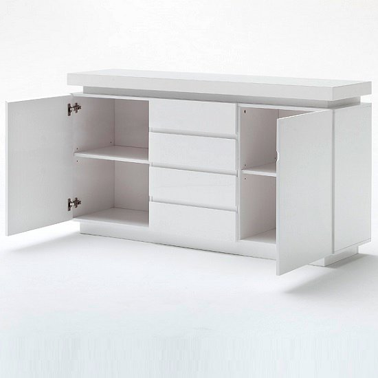 White Gloss Led Furniture: Odessa Sideboard 4 Drawer In High Gloss White With LED