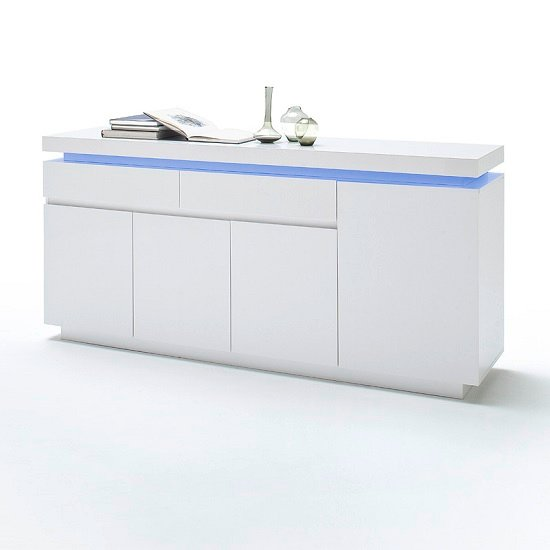 Odessa Large Sideboard 2 Drawer 4 Door High Gloss White