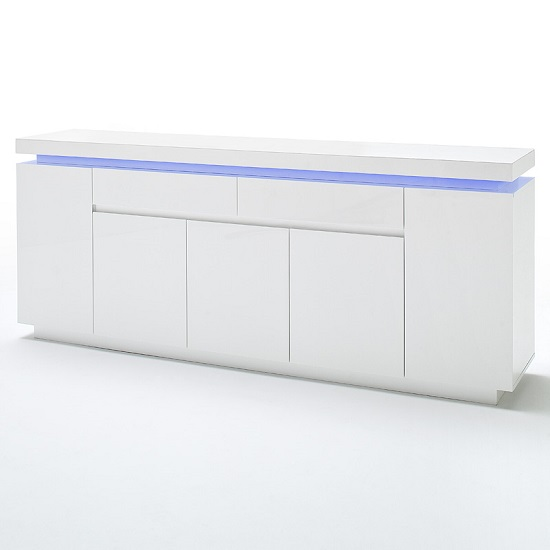 Odessa Large Sideboard 2 Drawer 5 Door Gloss White With LED_2