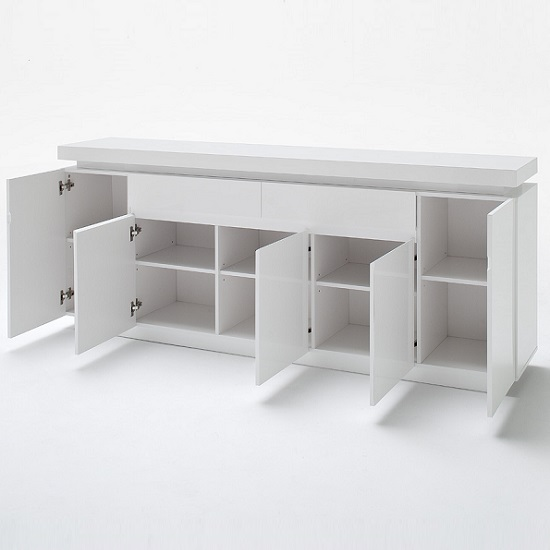 Odessa Large Sideboard 2 Drawer 5 Door Gloss White With LED_3
