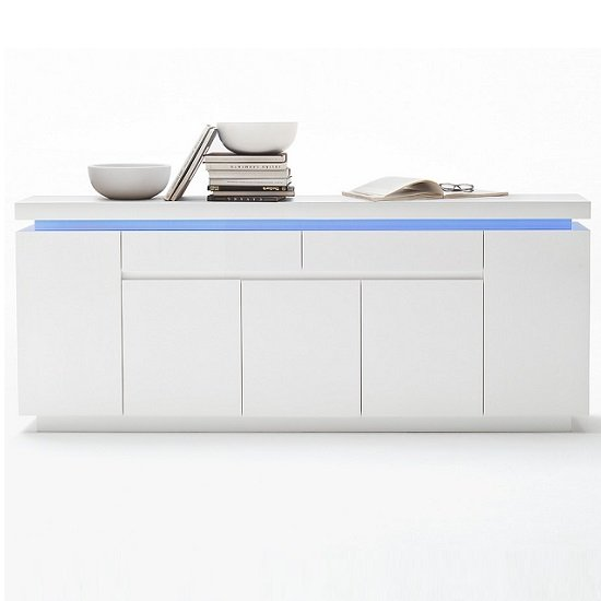 Odessa Large Sideboard 2 Drawer 5 Door Gloss White With