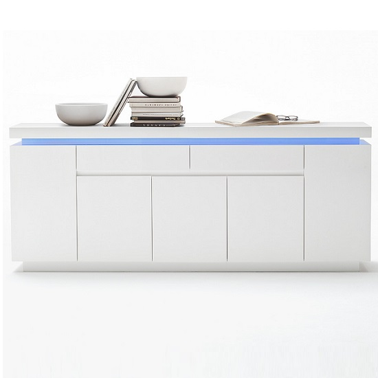 Odessa Large Sideboard 2 Drawer 5 Door Gloss White With LED_4