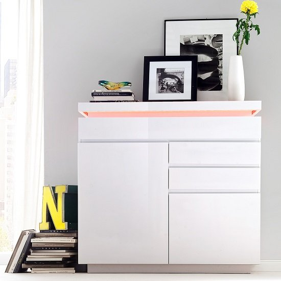 Odessa Small Sideboard 3 Drawer In High Gloss White With